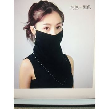 1 Fits All - Plain Black - Face Mask Scarf