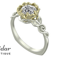 Flower Engagement Ring,Unique Engagement Ring,Two Tone Gold Ring By Vidar Botique,Diamond Engagement Ring,Leaves Ring,Vintage Ring,Gold Ring