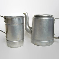 Vintage Aluminum Teapot and Tea Strainer   Personal Tea Kettle Set   Made in Bolivia by Fana Al   Unique Gift for Tea Lover   Retro