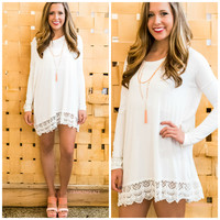 Game Changer Ivory Lace Trim Solid Dress