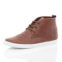 River Island MensBrown lace up mid top boots