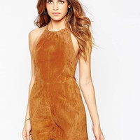 Brown Faux Suede Leather Back Bow Romper