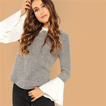 Weekend Casual Multicolor Contrast Collar Flounce Sleeve Top Women Long Sleeve Elegant Minimalist Blouses