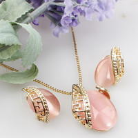 Unique Design Romantic Oval Opal Stone Pendant Necklace18K Gold Plated Necklace Earrings Jewelry Set For Women Wedding Set