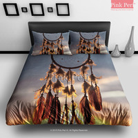 Dream catcher and Sunset Clouds Bedding Sets Home Gift Home & Living Wedding Gifts Wedding Idea Twin Full Queen King Quilt Cover Duvet Cover Flat Sheet Pillowcase Pillow Cover 060