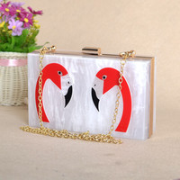 Swan Mother Of Pearl Acrylic Clutch Rip Off Fashion Style Purse
