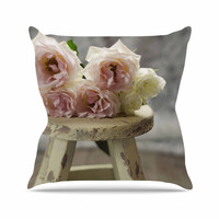 """Cristina Mitchell """"Roses on Stool"""" Floral Photography Outdoor Throw Pillow"""