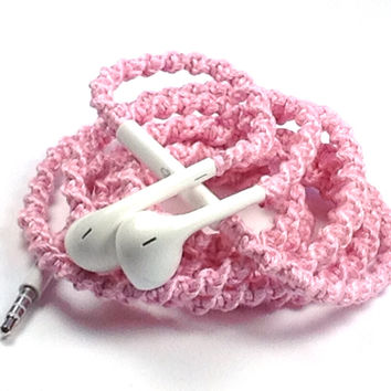Baby Pink MyBuds Wrapped Headphones Tangle Free Earbuds Your Choice of Headphones