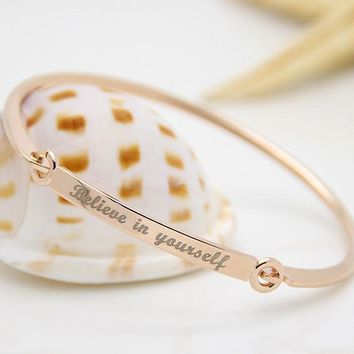 "Inspirational Script Engraved ""Believe In Yourself"" Bangle Bracelet"