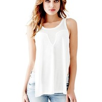Sleeveless Sheer-Blocked Side-Slit Tank | GUESS.com