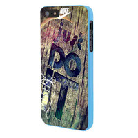 Nike Just Do It Wood iPhone 5 Case Framed Blue