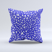 Royal Blue & White Floral Sprout Ink-Fuzed Decorative Throw Pillow