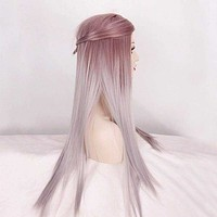 New Women Sexy Fashion Long Straight Hair Full Wig Lolita Ombre Silver Cosplay Macchar Cosplay Catalogue