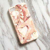 Pale Orange Marble iPhone 7 7Plus & iPhone se 5s 6 6 Plus Case Best Protection Cover +Gift Box-516