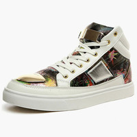 Criss-Cross PU Leather Round Toe High-top Sneaker