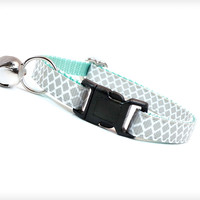 "Cat Collar - ""Incense & Peppermints "" - Light Gray / Grey on Mint"