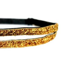Double Skinny Gold Sparkle Headband