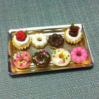 Dessert Set Miniature Clay Polymer 2 Cupcakes 6 Donuts Cake Pastry Food Fimo Metal Tray Tiny Small Dish Plate Display Dollhouse Supplies