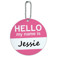 Jessie Hello My Name Is Round ID Card Luggage Tag