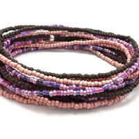3 Stretch seed bead wrap bracelets, stacking, beaded, boho anklet, bohemian, stretchy stackable multi strand, brown, pink, purple, coral