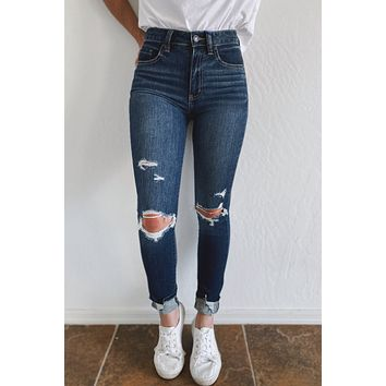 DISTRICT DISTRESSED SKINNY JEANS