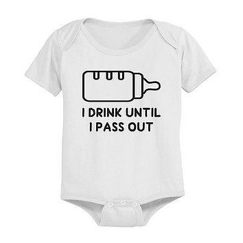 Funny Drinking Milk Baby Bodysuit - Pre-Shrunk Cotton Snap-On Style Baby Onesuit