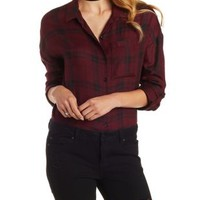 Wine Combo Oversized Plaid Button-Up Top by Charlotte Russe