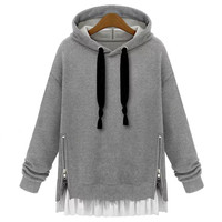 Fashion loose hooded fleece pullover