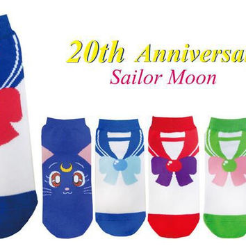 Cute cartoon sailor moon month rabbits water ice on female socks spring autumn ankle crew short tube socks cotton ship socks