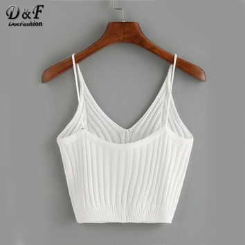 Ribbed Knit V Neck Crop Cami Tops Summer Style 2017 Vogue Plain Women Sexy Spaghetti Strap Camisole
