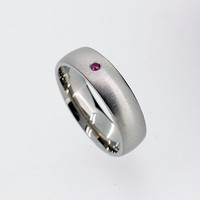 6.00mm wide Ruby wedding band made from Palladium, man wedding ring, modern, ruby ring, men palladium wedding, red ring, matte