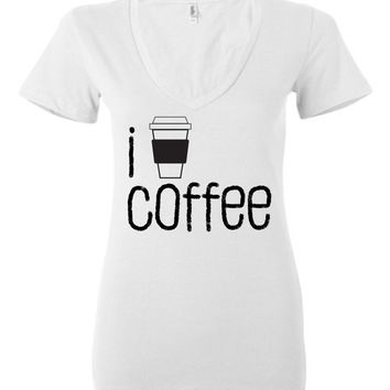 I COFFEE COFFEE - Bella Ladies Deep V-Neck