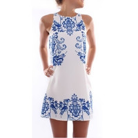 New Women Dress Summer Fashion Elegant Dress Sleeveless Print Dress F_F (Size: XL) = 1904603972