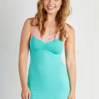 Slumber Along the Line Nightgown in Turquoise