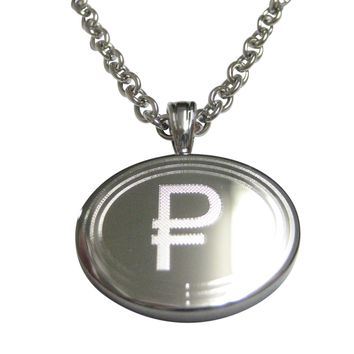 Silver Toned Etched Oval Russian Ruble Currency Sign Pendant Necklace