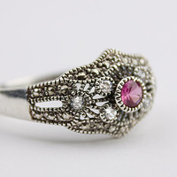Sterling Silver Ring with Pink Glass Stone - Filigree Metal