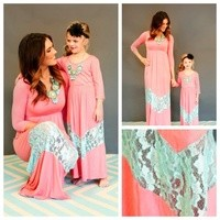 Mommy 3/4 Sleeve Ocean Blue and Apricot Lace Dress