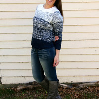 Ombre Cable Knit Sweater in Navy