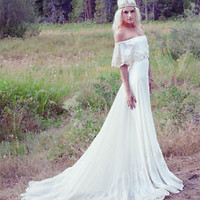 Bohemian Beach Long Wedding Dresses Off Shoulder Ivory Chiffon Lace Bridal Gowns