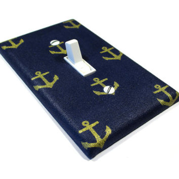 Navy Blue and Gold Anchors Light Switch Cover Nautical Decor Nautical Nursery Bedroom Decoration Switch Plate 1569
