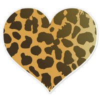 "Cheetah Animal Print Heart car bumper sticker 4"" x 4"""
