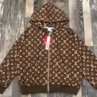 LV Zipper Jacket Brown Women Men Print clothing Embroidery Loose coat