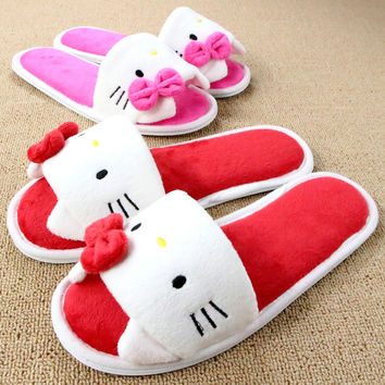 Soft Plush Bow Hello Kitty Pink Slippers Women Men Shoes Indoor Girl Loafers Cartoon Pantuflas Pantofole Donna Chinelo Masculino