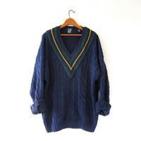 Vintage Preppy Sweater. Blue Sweater Cable Knit Pullover. Oversized Vneck Sweater. V Neck.