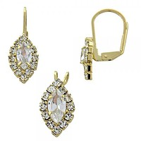Gold Layered 5.058.014 Earring and Pendant Adult Set, with  Cubic Zirconia, Golden Tone