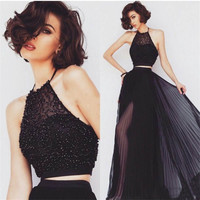 Black Two 2 Piece Prom Dresses Long Fast Shipping Chiffon Women Halter Side Slit Evening Dress for Graduation Promdress