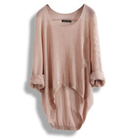 Batwing Casual Loose Asymmetric Round Neck Knitted Pullover Jumper Sweater