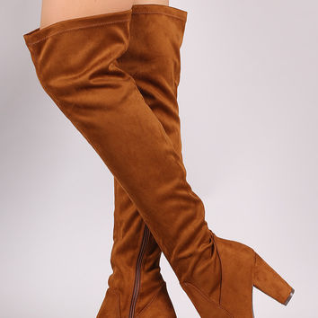 Breckelle Suede Fitted Chunky Heel OTK Boots