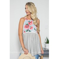 Flowy Floral Striped Tank