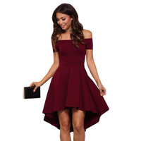 2016 new autumn fashion sexy  ball gown solid red sleeveless mini off the shoulder slash collar high waist women party dress